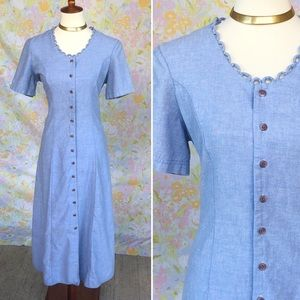 Vintage🌼90s Chambray Button Front Maxi Dress